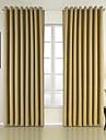 Deux Panneaux Néoclassique Solide Jaune Chambre à coucher Polyester Panneau Rideaux rideaux