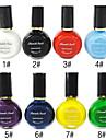 1PCS Flerfärgs Top Coat Nagellack för stämpling (10 ml, blandade färger)