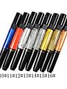 1PCS dubbla användningsområden Nail Art Pen för att rita måla utspridda No.9-16 (blandade färger)
