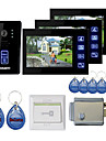"""New 7"""" Touch Panel Video Door phone System with 3 Monitors(RFID keyfobs,Electronic Controlling Lock)"""