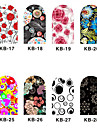 12PCS 3D Full-täcka Nail Art Stickers Cartoon Flower Series (No.3, Assorted Color)