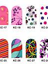 12PCS 3D Full-täcka Nail Art Stickers Flash Powder Flower Series (No.3, Assorted Color)
