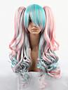 Bleu et rose couleur 68cm Cosplay Lolita vague perruque