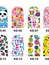 12PCS 3D Full-täcka Nail Art Stickers Cartoon Series (No.2, Assorted Color)