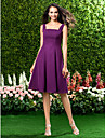 Homecoming Knee-length Chiffon Bridesmaid Dress - Grape Plus Sizes A-line Straps/Square