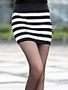 Alb și negru elastic cu dungi tricot pachet fusta Hip (talie :58-79cm Hip :90-104 Lungime: 56cm)