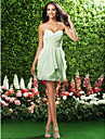 Lanting Bride® Short / Mini Chiffon Bridesmaid Dress Sheath / Column Strapless / Sweetheart Plus Size / Petite with Draping / Criss Cross