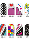 12PCS 3D Full-couvrir Nail Art Stickers Cartoon Spot Les Séries (No.2, couleurs assorties)