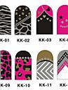 12PCS 3D Full-Cover Nail Art Stickers Métal Série (n ° 1, couleurs assorties)