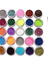 25 Färger glitter pulver Nail Art dekorationer med en borste