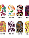 12PCS 3D Full-täcka Nail Art Stickers Series Cartoon Flower (No.2, Assorted Color)