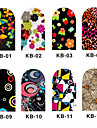 12PCS 3D Full-Cover Nail Art Stickers Cartoon Flower Series (N ° 1, couleurs assorties)
