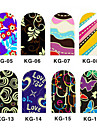 12PCS 3D Full-Cover Nail Art Stickers Series Noctilucent (No.2, couleurs assorties)