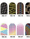 12PCS 3D Full-täcka Nail Art Stickers Spot Series (No.3, Assorted Color)