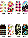 12PCS 3D Full-Cover Nail Art Stickers Series Noctilucent (N ° 1, couleurs assorties)