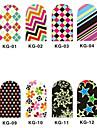 12PCS 3D Full-täcka Nail Art Stickers Nattlysande Series (No.1, Assorted Color)