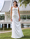 LAN TING BRIDE Sheath / Column Wedding Dress - Classic & Timeless Elegant & Luxurious See-Through Floor-length V-neck Lace Tulle with