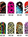 12PCS 3D Full-täcka Nail Art Stickers Flash Powder Flower Series (NO.4, Assorted Color)