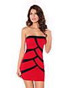 Women's Bandeau Black-red Mini Dress(Bust:86-102cm Waist:58-79cm Hip:90-104cm length:84cm)
