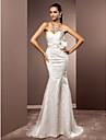 Mermaid / trompeta dragă mată / perie tren satin tul de nuntă rochie de mireasă cu criss-cross flori de lan ting bride®
