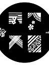 4pcs Nail Art Stamping Timbre Image de tasse Plate M série No.3
