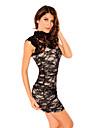negru elegant floral plasă rochie din dantela femei (bust :86-102 cm talie :58-79cm hip :90-104cm lungime: 85cm)