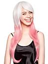 capless høy kvalitet syntetisk hvit og rosa lang rett parti parykk