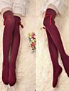 Wine Red Ribbon Bomull Classic Lolita Over Knee Socks
