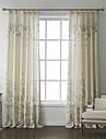 land två paneler blom- botaniska beige sängkläder panelgardiner draperier