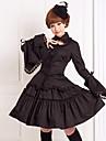 Tenue Gothique Lolita Cosplay Vêtrements Lolita Couleur Pleine Manches longues Moyen Chemisier Jupe Pour Coton