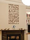 ord & citat väggdekorationer har hopp ger aldrig upp tvättbara väggdekaler