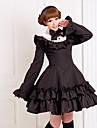 Manches longues de longueur genou coton noir classique École Robe Lolita