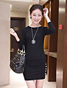 Femei guler rotund maneca lunga Bodycon rochie mini