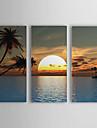 HANDMÅLAD Landskap Tre paneler Kanvas Hang målad oljemålning For Hem-dekoration
