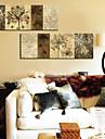 modern stil blommig väggklocka i canvas 2st