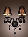Black Crystal vägglampa med 2 lampor i tygskärm