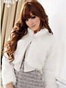 Sleeve turndown guler Faux blana Casual / Party Jacket lung