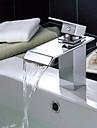 Contemporain Set de centre Cascade with  Valve en céramique Mitigeur un trou for  Chromé , Robinet lavabo