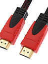 10m 30ft noir& rouge 1080p HDMI v1.4 HDMI vers HDMI câble HDMI haute vitesse w / noyaux de ferrite