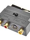 SCART hane till RCA Composite Female Adapter för S-video Ljud