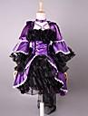 One-piece/Klänning Gotisk Lolita Lolita Cosplay Lolita-klänning Purpur Svart Enfärgat 3/4-dels ärm Lolita Klänning För Dam Satäng Organza