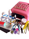 49PCS UV Gel Tips Nail Art Suit med 36W Nail Torrare Pink