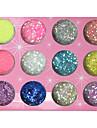 12-färg glitter pulver Paljetter nageldekorationer