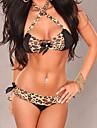 Women's Sexy Leopard Satin Rhinestone Bikini
