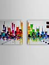 oljemålning abstrakt stadsbild uppsättning av två 1307-ab0501 handmålade duk
