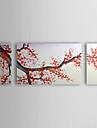 oljemålning blommig cherry blossom röda plommon blommor med sträckt ram uppsättning av 3 1307-fl0164 handmålade duk