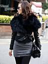 guler de blană pentru femei haină scurt