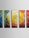 Peint à la main Abstrait Horizontale,Moderne Cinq Panneaux Peinture à l'huile Hang-peint For Décoration d'intérieur