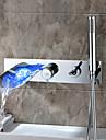 Robinet de salle de bain Sprinkle®  ,  Moderne  with  Chrome 1 poignée 5 trous  ,  Fonctionnalité  for Lumineux LED / Jet pluie / Montage