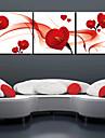 Sträckta canvas konst Blommor Romance Red Petal Set av 3